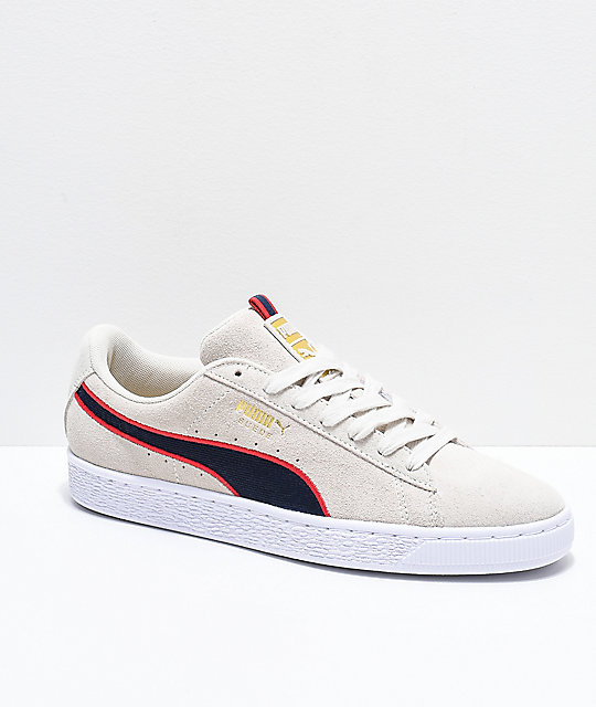 3f28ba17c6 PUMA Suede Classic Sport Stripes White   Red Shoes