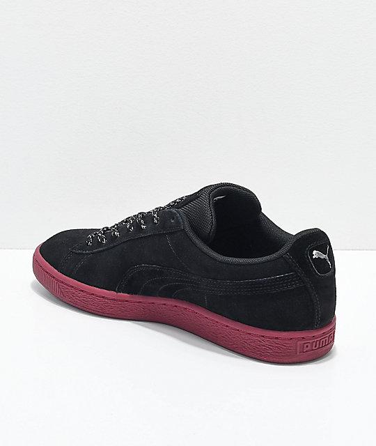 19644f5b213 ... PUMA Suede Classic Waterproof Black   Red Shoes ...