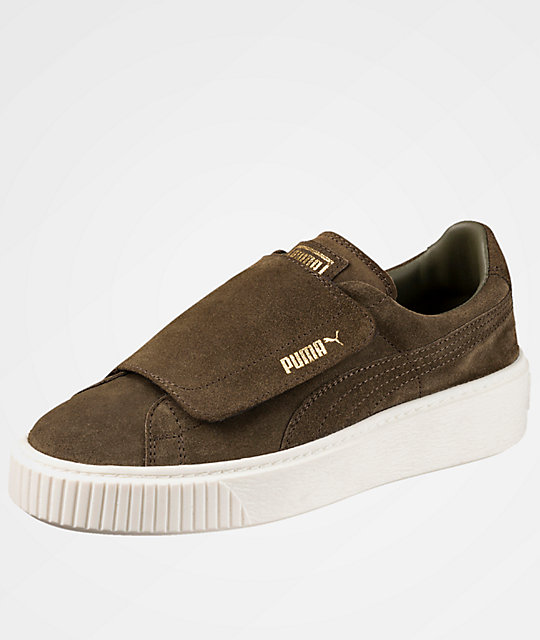buy popular 82b25 21c77 PUMA Suede Platform Big Strap Olive Night Shoes