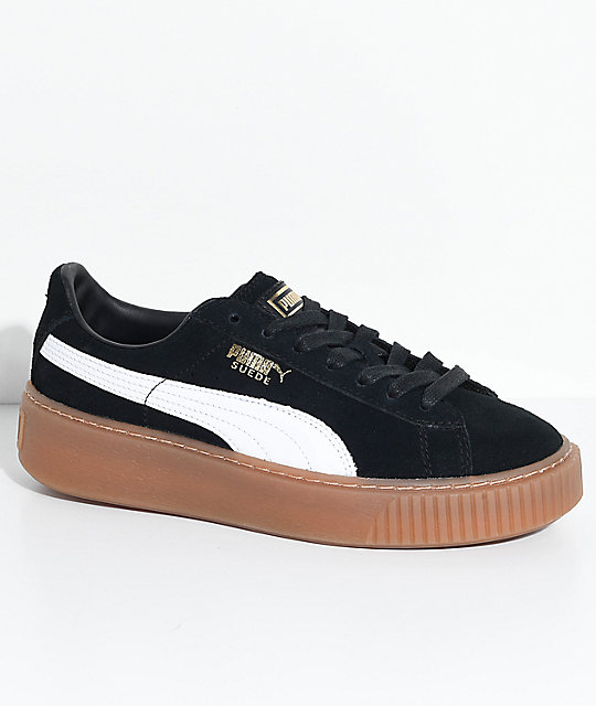 c9add38b45ef8e PUMA Suede Platform Black, White & Gum Shoes | Zumiez.ca