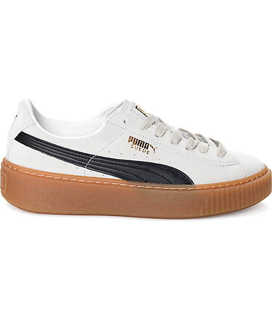 PUMA Suede Platform Core White & Black Shoes (Womens)