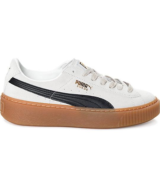 ... PUMA Suede Platform Core White   Black Shoes (Womens) ... 7fffb46bc