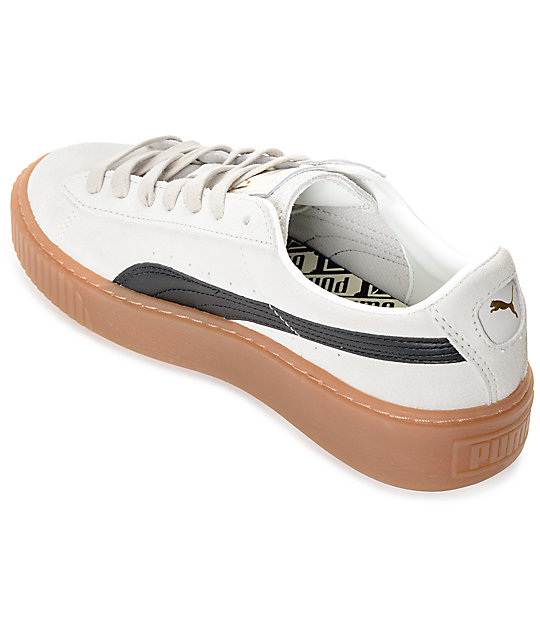 7ff384d8cc80 ... PUMA Suede Platform Core White   Black Shoes (Womens) ...