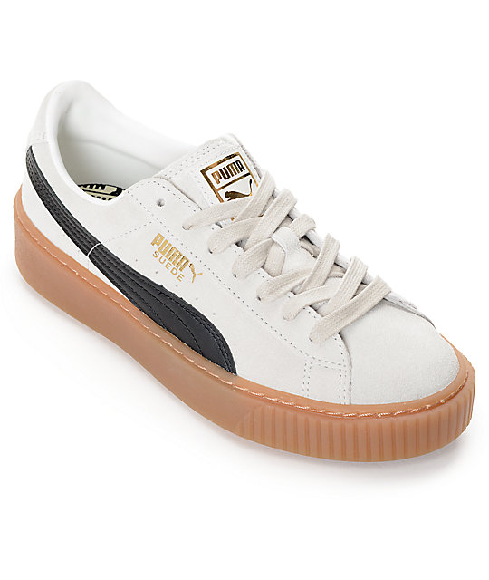PUMA Suede Platform Core White   Black Shoes (Womens)  cad2bf0dc