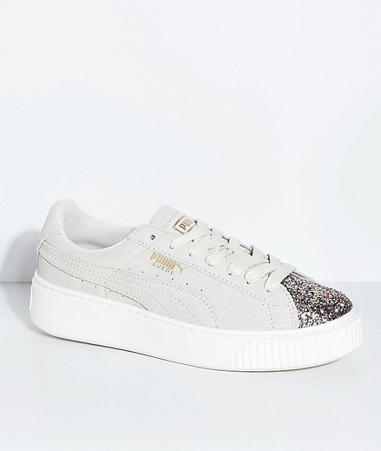 PUMA Suede Platform Crushed Gem & Grey Shoes