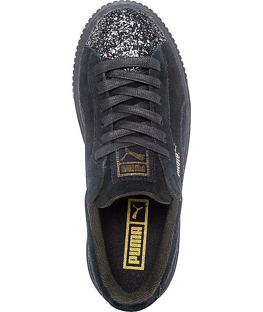 76850f90cb07 ... PUMA Suede Platform Crushed Gem Black Shoes (Womens) ...