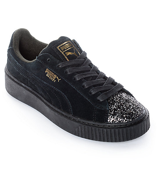 f4b2d06a791e PUMA Suede Platform Crushed Gem Black Shoes (Womens)