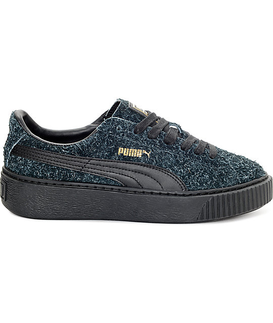PUMA Suede Platform Elemental Black Shoes (Womens)