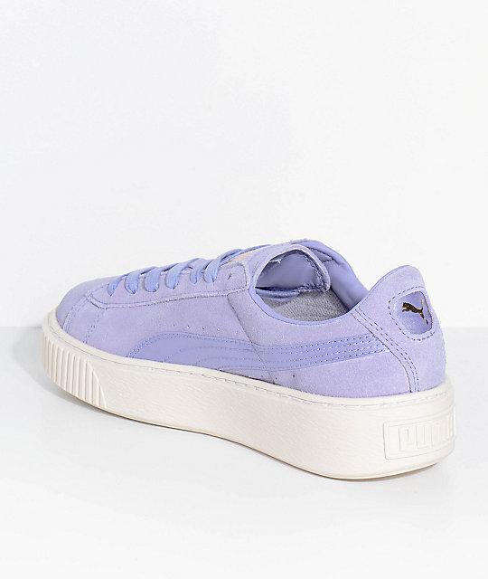 new product 25cd0 1e195 PUMA Suede Platform Mono Satin Lavender Shoes