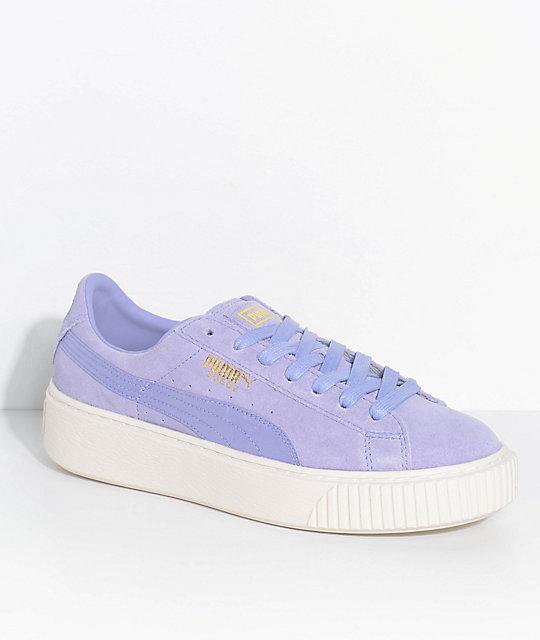 9b613d1c7fbe PUMA Suede Platform Mono Satin Lavender Shoes