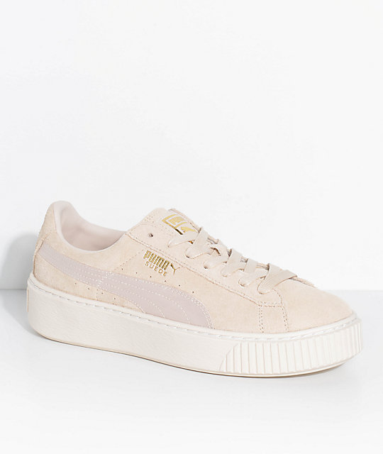 f8966217cfe PUMA Suede Platform Mono Satin White Shoes