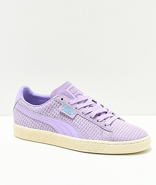 PUMA Suede Purple Rose & White Shoes