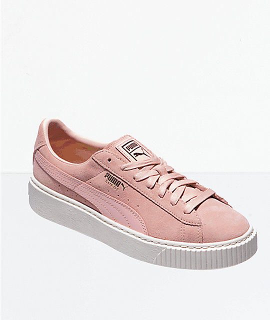 the best attitude 0fbf9 acfd9 PUMA Trace Pink Suede Platform Shoes