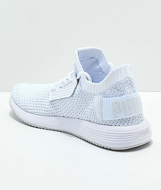 ... PUMA Uprise Knit White   Grey Shoes ... 05db93372