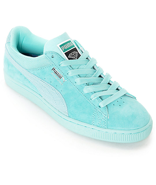 low priced 082ee 6ee1e PUMA x Diamond Supply Suede Classic Aruba Blue Suede Shoes