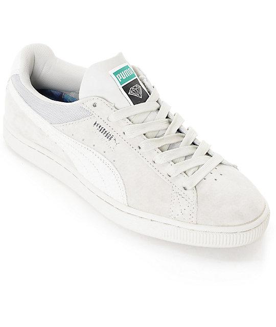 san francisco 0c76b 25f22 PUMA x Diamond Supply Suede Classic White Suede Shoes
