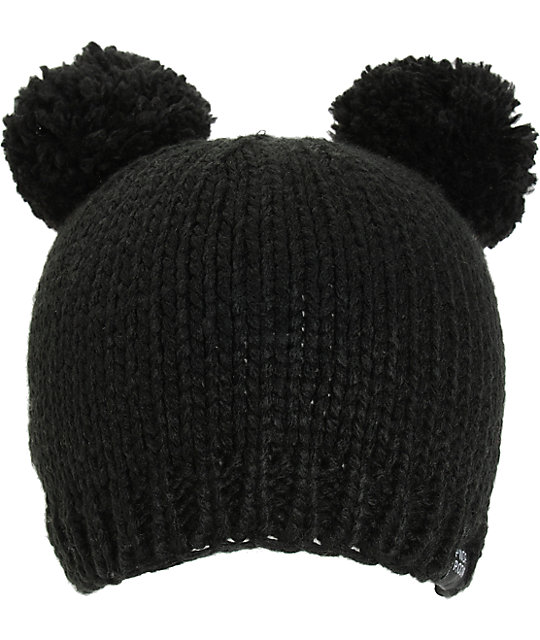 PWDR Room Black Double Pom Beanie  976f1ac79df