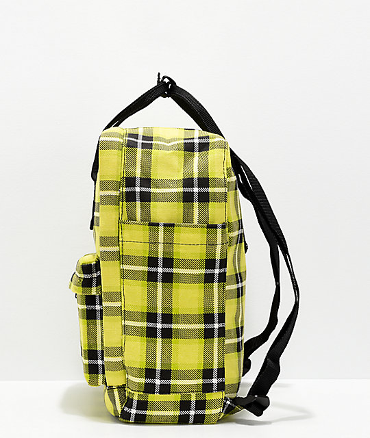 Petals & Peacocks As If Yellow Plaid Mini Backpack