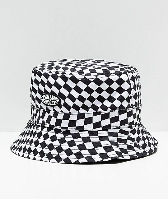 Petals & Peacocks Checkered Black & White Bucket Hat