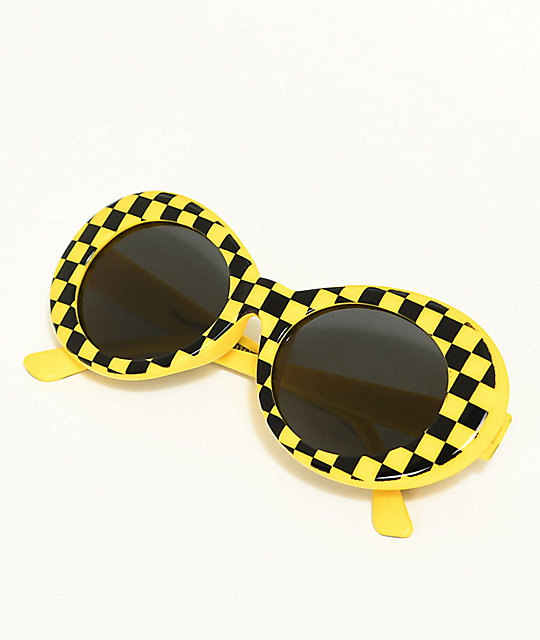 Petals & Peacocks Nevermind Yellow Checkerboard Sunglasses