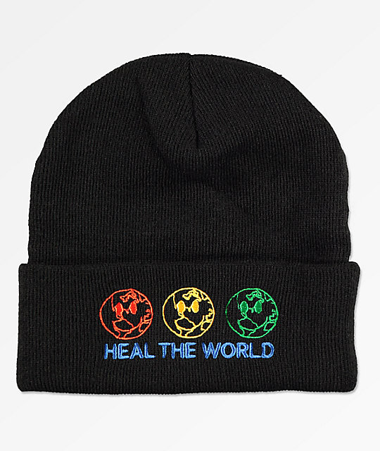 Petals By Petals & Peacocks Heal The World Black Cuff Beanie