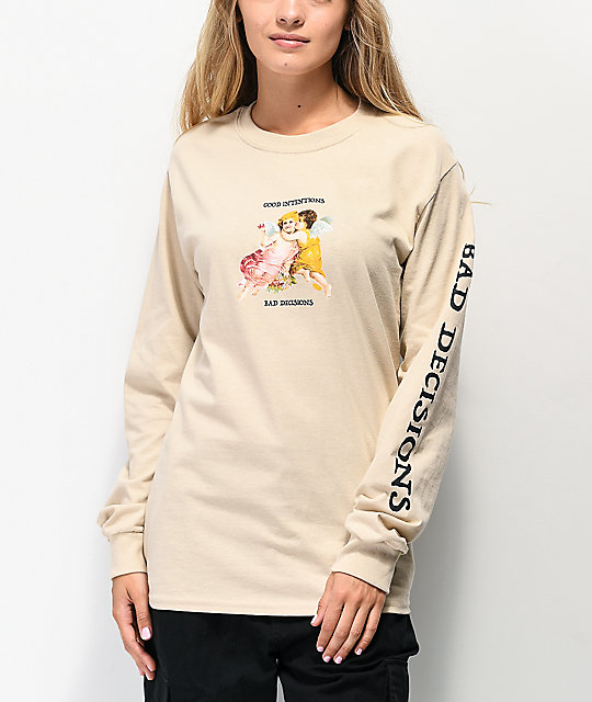 Petals and Peacocks Good Intentions Tan Long Sleeve T-Shirt