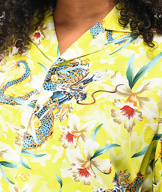 Petals and Peacocks Unleash The Dragon Short Sleeve Button Up Shirt