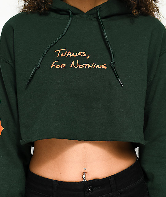 Petals by Petals & Peacocks Thanks For Nothing Green Crop Hoodie