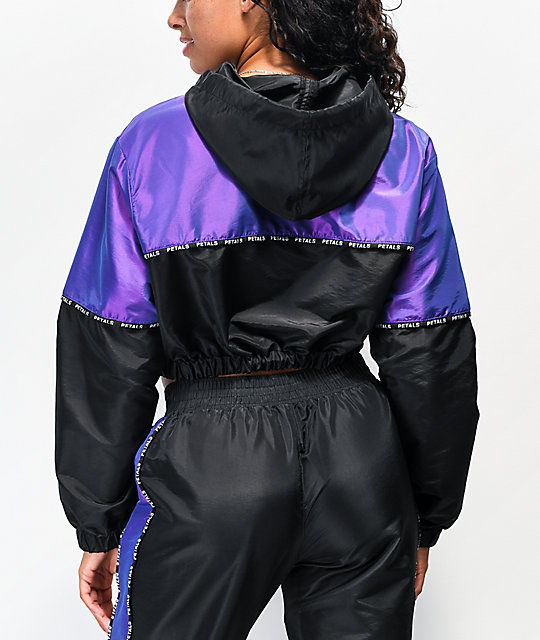 Petals by Petals and Peacocks Black & Iridescent Purple Crop Anorak Windbreaker Jacket