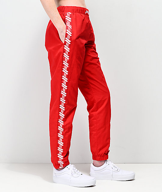Petals by Petals and Peacocks Kindness Red Crinkle Track Pants