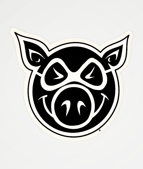 Pig Wheels Pig Head Sticker