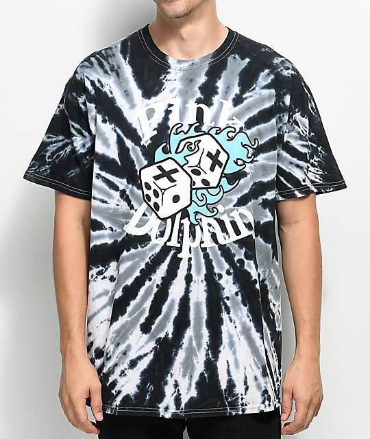 Pink Dolphin Dice Roll Black Tie Dye T-Shirt