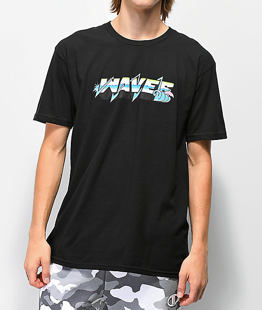 Pink Dolphin Electric Waves Black T-Shirt