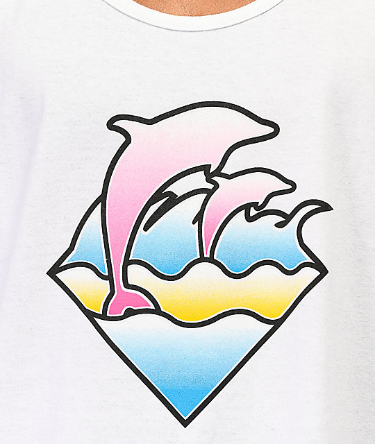 Pink Dolphin Pastel Waves White Tank Top