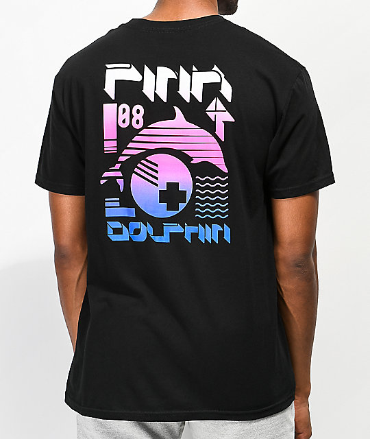 Pink Dolphin Pulse Collage Black T-Shirt