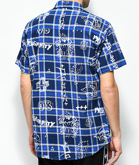 Pink Dolphin Scribbles Blue Short Sleeve Flannel Shirt