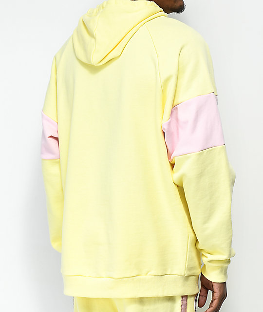 Pink Dolphin Striped Yellow & Pink Colorblock Hoodie