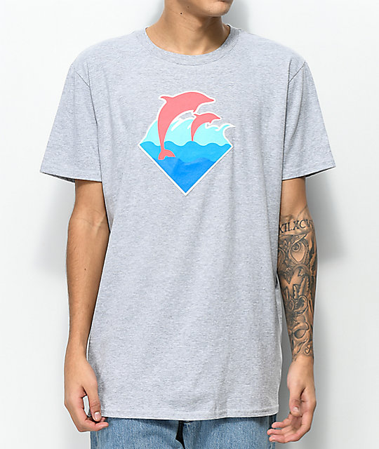Pink Dolphin Wave Puff Print camiseta gris