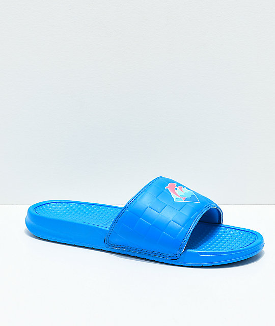Pink Dolphin Waves 2.0 Blue Slide Sandals