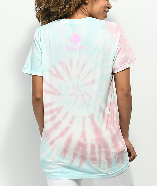 Pink Dolphin Waves Bloom camiseta con efecto tie dye