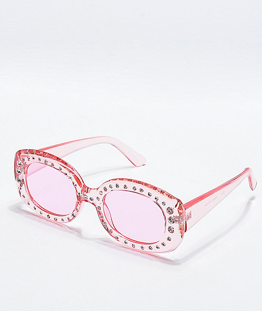 Pink Square Stone Sunglasses