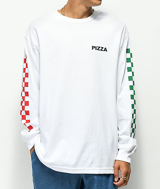 Pizza Checkered White Long Sleeve Shirt