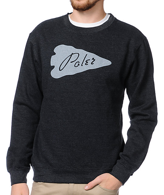Poler Arrowhead Dark Grey Crew Neck Sweatshirt