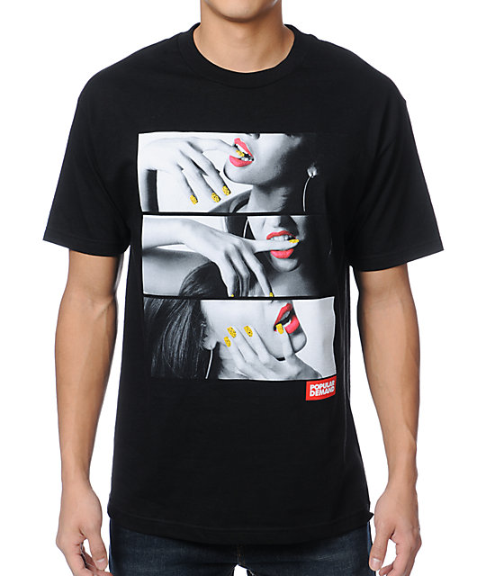 Popular Demand Lips And Nails Black T-Shirt