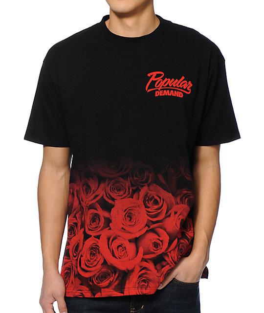 Popular demand rose fade black red t shirt zumiez for T shirt on demand