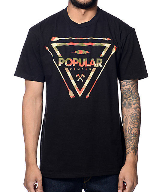 Popular Demand Tribal Crest Black T-Shirt