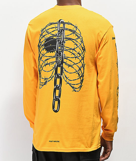 post malone rib cage yellow long sleeve t shirt zumiez