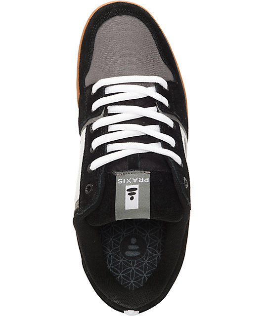 Praxis Core Black, Grey & Gum Skate Shoes