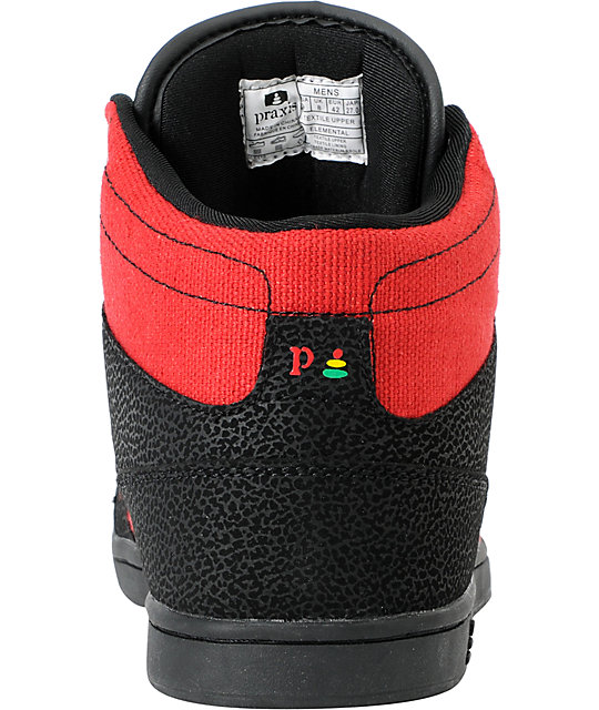 Praxis Elemental Black & Red High Top Skate Shoes