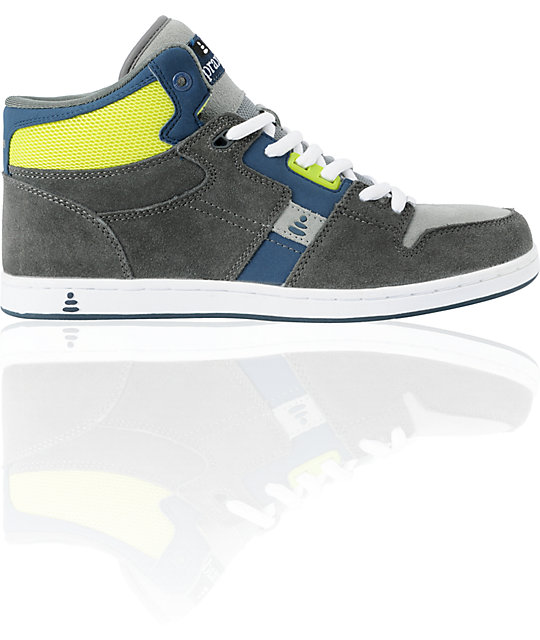 Praxis Freestyle Grey & Lime High Top Skate Shoes